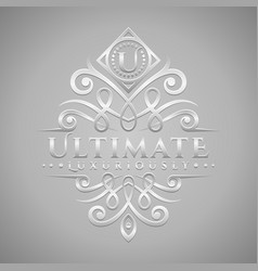 letter u logo - classic luxurious silver vector image