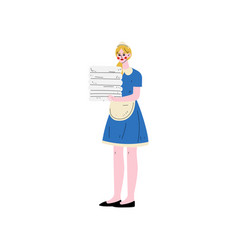 Maid holding stack of clean towels hotel staff vector