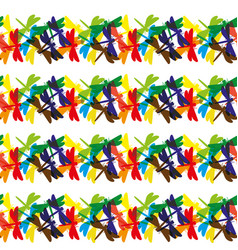 Many colored dragonflies vector