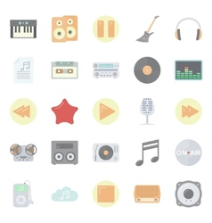 Music and audio flat icons set vector image