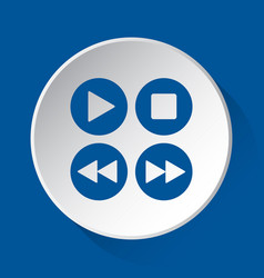 music control buttons - blue icon on white button vector image