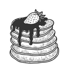 pancakes with syrup and strawberry sketch vector image