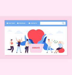 philanthrophy landing page charity or donation vector image