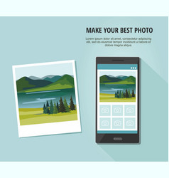 Photo of nature landscape with smartphone vector