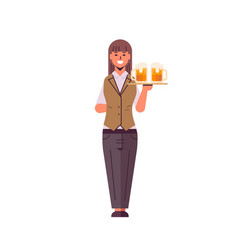Professional waitress holding serving tray vector