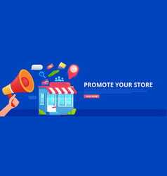 promotion store hand with megaphone and seo icons vector image
