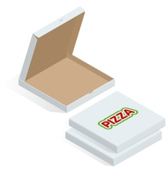 Realistic 3d isometric pizza cardboard box Opened vector image