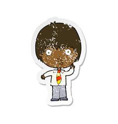 Retro distressed sticker of a cartoon school boy vector