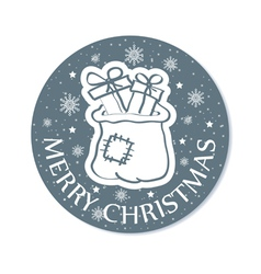 Round christmas card with santa bag grey vector