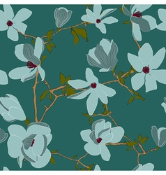 Seamless Floral Background with Magnolia Flowers vector