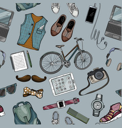 seamless pattern of modern man accessory set vector image