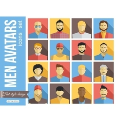 set men avatars icons colorful male faces vector image