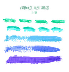 set of green blue watercolor stripes vector image