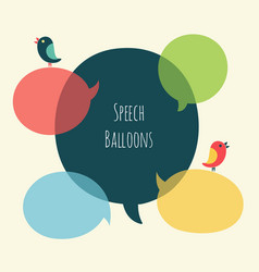 Set of speech bubble with bird vector