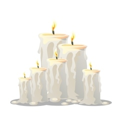 set of white candles with a burning wick vector image