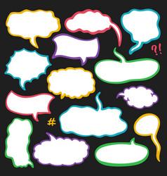 set sketched speech bubbles vector image
