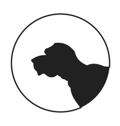 Silhouette of a dog head english mastiff vector image