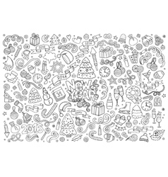 Sketchy hand drawn Doodle set of New Year vector image
