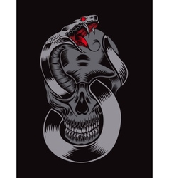 Skull with cobra vector