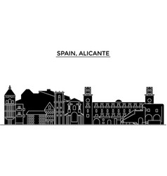 Spain alicante architecture city skyline vector