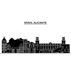 Spain alicante architecture city skyline vector