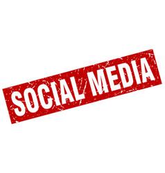square grunge red social media stamp vector image
