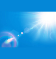 Sun in blue sky warm solar lens flare in clear vector