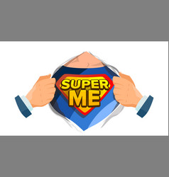 super me sign isolated flat cartoon comic vector image