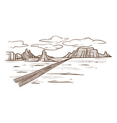 Texas wild desert road and hills landscape sketch vector