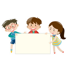 Three kids holding blank banner vector