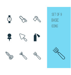 tools icons set with pitchfork chainsaw scapula vector image