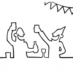 two people partying with drink vector image