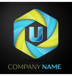 U Letter colorful logo in the hexagonal on black vector