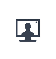 video call conference icon on white vector image