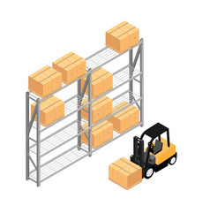 warehouse interior with shelves pallets forklift vector image