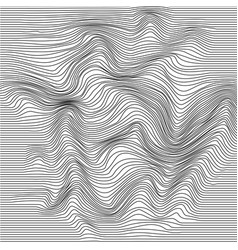 Wavy line deformation abstract monochrome striped vector