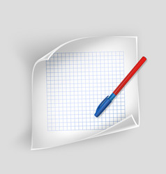 white sheet of paper with realistic pen sheet of vector image