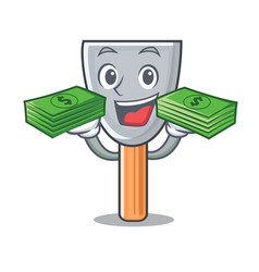 With money cartoon putty knife in plaster vector