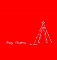 xmas treefir simple contour and merry text vector image