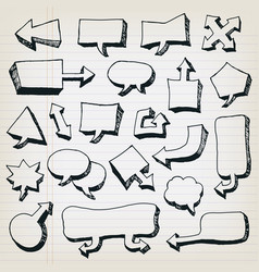 doodle cartoon speech bubbles set vector image