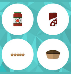 Flat icon eating set of eggshell box tart vector