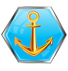 golden anchor on button vector image vector image