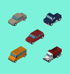 Isometric car set of suv freight autobus and vector