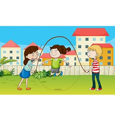 Kids playing rope vector image vector image