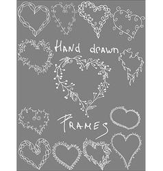 Set of hand drawn leafy heart shaped frameswhite vector image