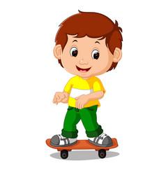 boy playing skateboard cartoon vector image
