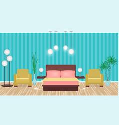 bright colors elegant bedroom interior with vector image vector image