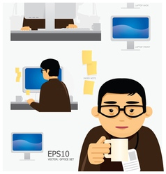 characters office work set vector image