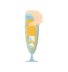 drawing glass cup champagne bubbles ice vector image