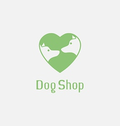 Flat pet shop logo with dogs in love vector image vector image